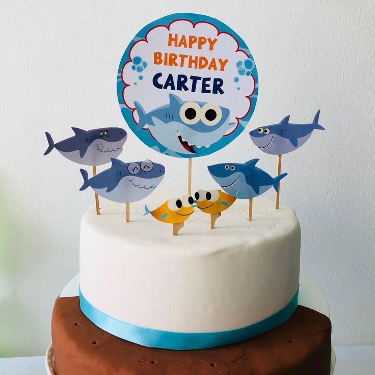 Baby shark cake topper birthday cake topper editable
