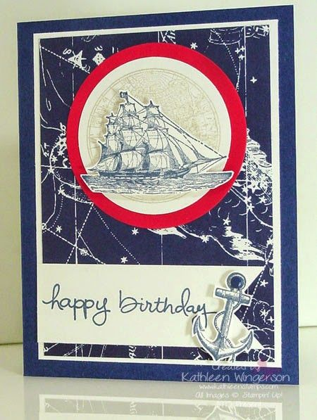 www.kathleenstamps.com -- I made this masculine birthday card using the Stampin Up! The Open Sea and the new Endless Birthday Wishes stamp sets. For additional information on this card, please stop by my blog at: www.kathleenstamps.com. Thanks for taking time to PIN my card.