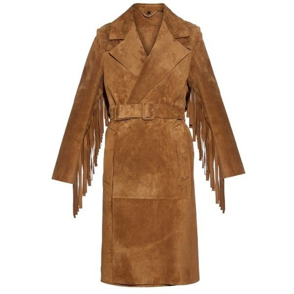 Burberry Prorsum Fringed suede coat ($6,402) ❤ liked on Polyvore featuring outerwear, coats, camel, brown suede coat, camel trench coat, fringe coat, suede coat and brown coat