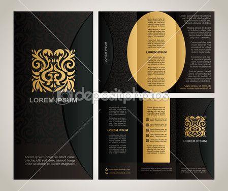 ダウンロード - 現代アートの要素と飾り、色、古典的な黒、黄色、茶色の色とデザインと装飾のための創造的な解決にページ レイアウトとビンテージ スタイル パンフレットのテンプレート デザイン — ストックイラストレーション #26750587