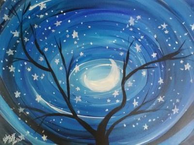 Winter Moon Painting. Dip n Dab BYOB painting class for Thursday Night!