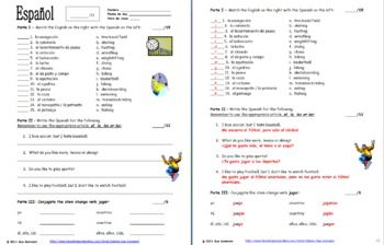 Spanish Sports Quiz or Worksheet - Matching, Sentences & Jugar by Sue Summers