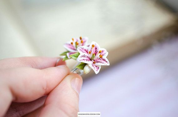 Pink Lily Stud Earrings Pink Wedding Small Flower Stud Earrings Lily Jewelry Stargazer lily Tiger Lily Earrings Bridesmaids Earrings