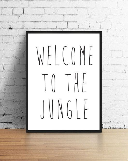 """Teen Room Print """"Welcome To The Jungle"""", Teen Room Decor, Youngsters Wall Artwork, Youngsters Typographic Artwork, Nursery Room, Nursery Wall Artwork, Youngsters Wall Artwork"""