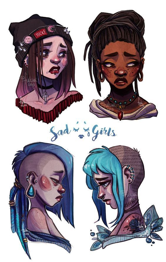 Face expression drawings. Sad.