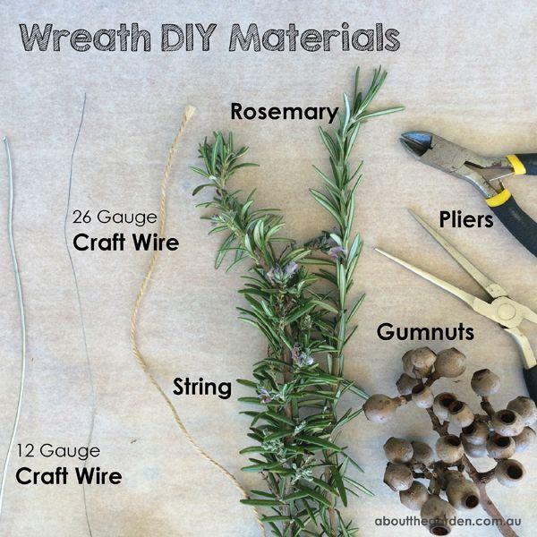 Materials for making an Anzac Day rosemary wreath #2015 #anzac #centenary #gallipoli #aboutthegarden #australia