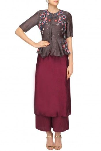 5X By Ajit Brown Peplum Jacket and Maroon Palazzo Set #happyshopping #shopnow #ppus