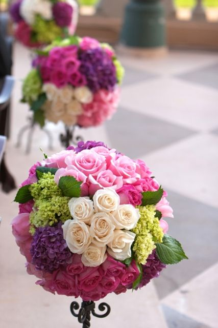 pink, green purple Wedding aisle flower décor, wedding ceremony flowers, pew flowers, wedding flowers, add pic source on comment and we will update it. www.myfloweraffair.com can create this beautiful wedding flower look.