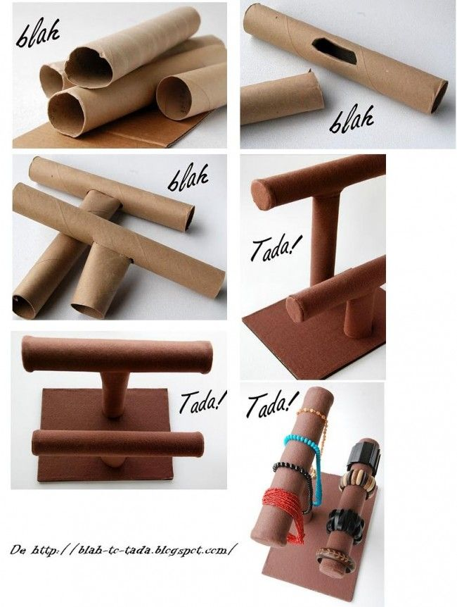 DIY: JEWELRY ORGANIZER MADE ​​WITH CARDBOARD TUBES by www.blah-to-tada.blogspot.com