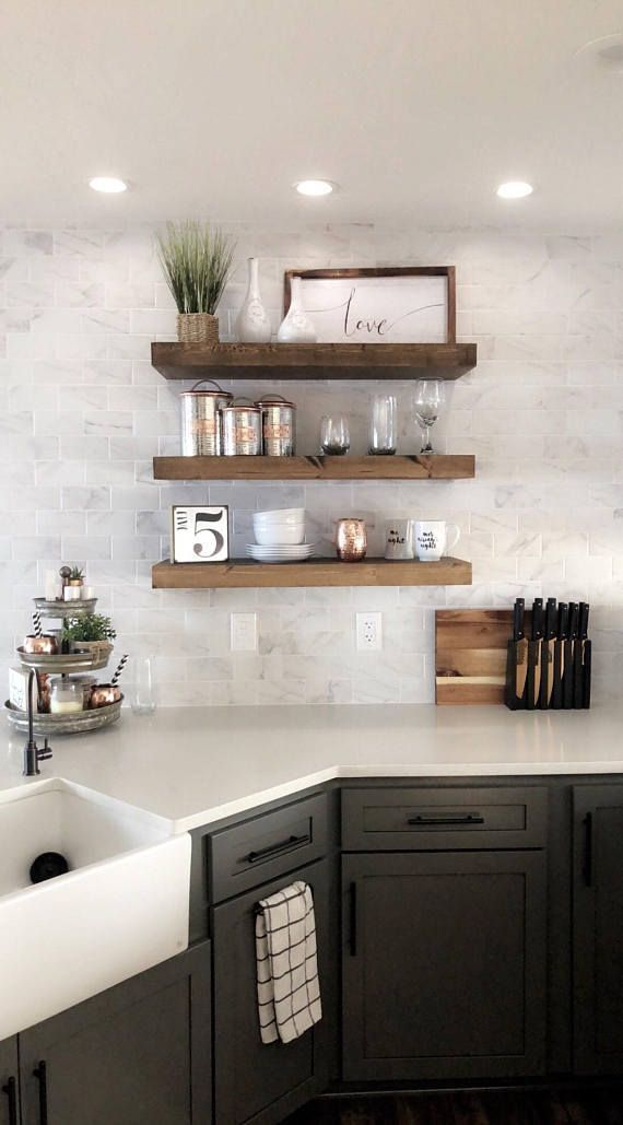21 Ideas Farmhouse Kitchen Wall Wood Shelves Kitchen Shelf Decor Kitchen Wall Shelves Floating Shelves Kitchen