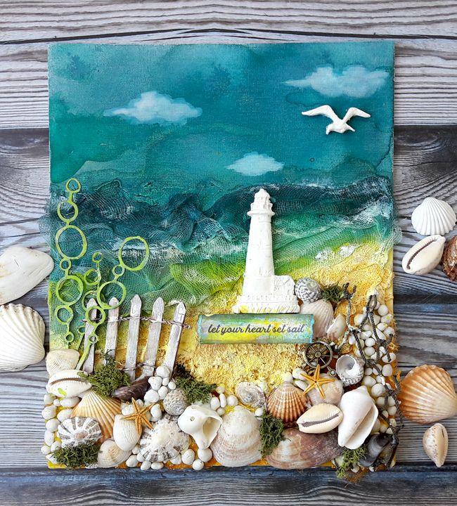 Let Your Heart Set Sail Mixed Media Canvas - Einat Kessler
