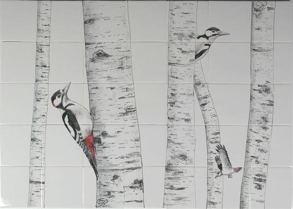Wat doen die spechten op tegels? die klimmen in een berkenboom