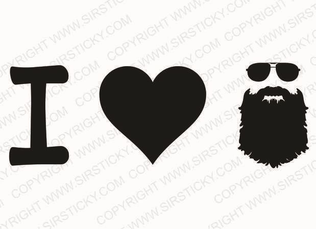 I Heart Beard Vinyl Decal Funny Meme Moustache Lumbersexual Metrojack Sticker in Decals, Stickers & Vinyl Art | eBay