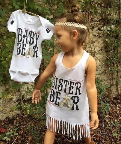 « SISTER BEAR » FRINGE DRESS - The Pine Torch. Big sister dress, baby bear onesie, pregnancy announcement, big sister announcement, matching sibling shirts.