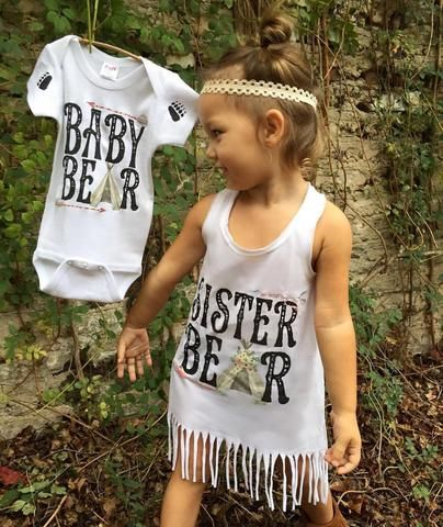 « SISTER BEAR » FRINGE DRESS - The Pine Torch. Big sister dress, baby bear onesie, pregnancy announcement, big sister announcement, matching sibling shirts.