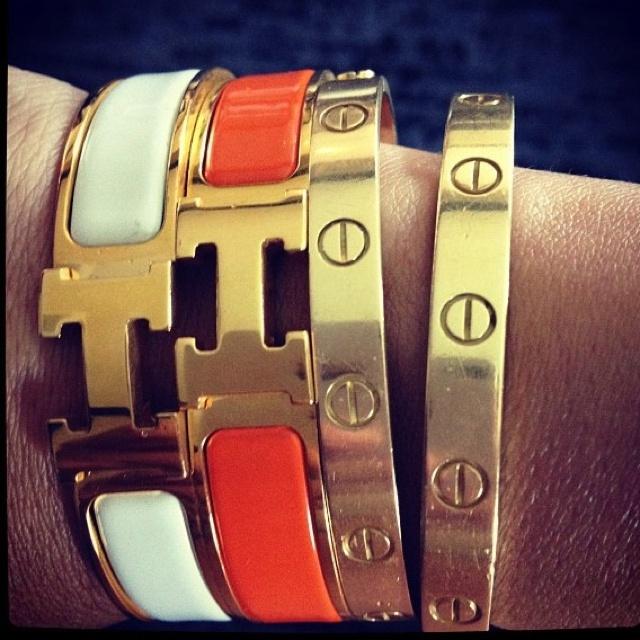 hermes bangles and cartier love bracelet  @Jenn L Milsaps L Milsaps L Ebert - YES PLEASE!