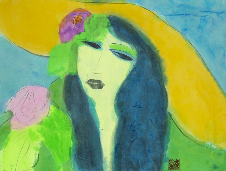 Walasse Ting - Lady with Yellow Hat