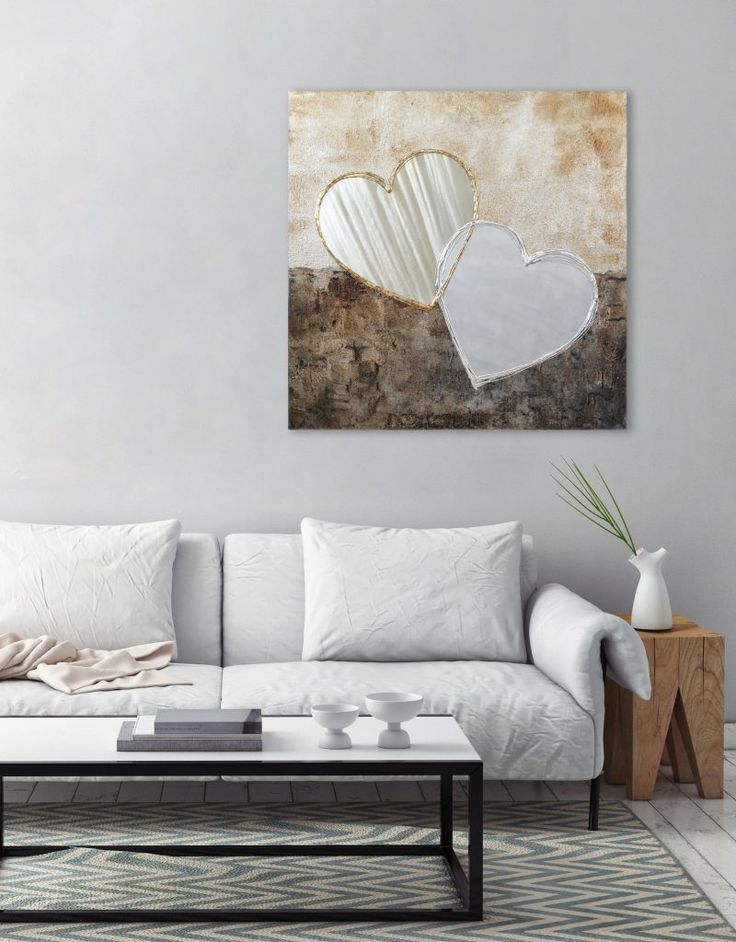 'Big Love' 90x90cm canvas with texture, warm neutral tones and embellished with aluminium and silver leaf.