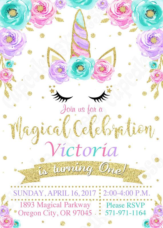Unicorn Invitation Party Magical Birthday 1st Girls First PRINTABLE