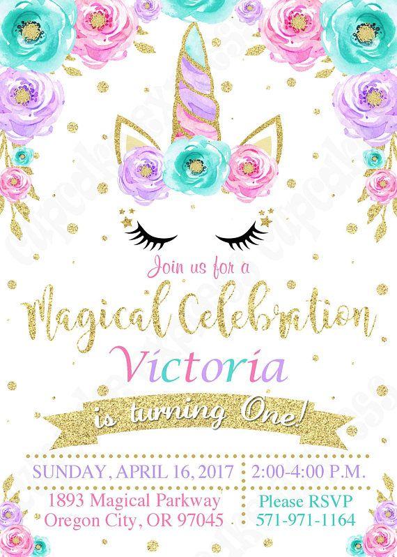 Unicorn Invitation Party Magical Birthday 1st