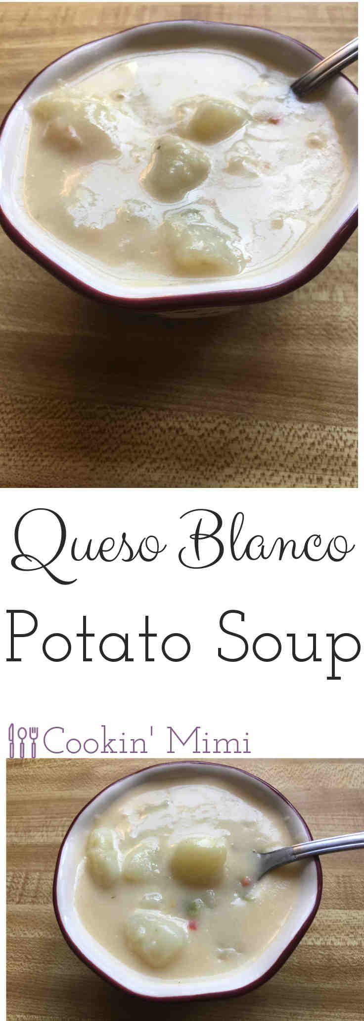 Queso Blanco Potato Soup is hearty and filling with a bit of Tex-Mex flair.