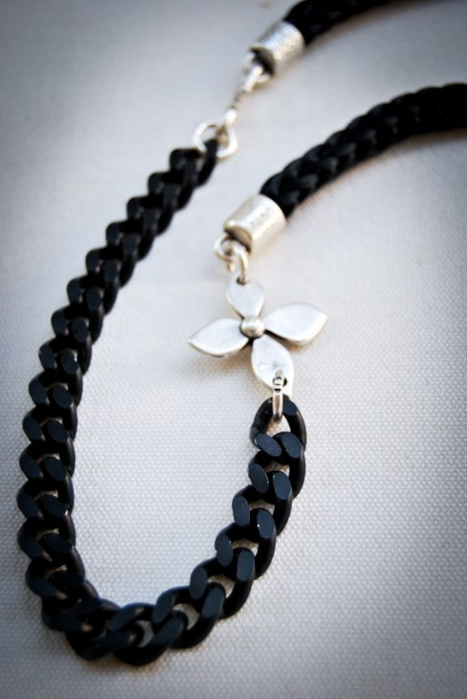 Handmade necklace with black satin cord and black chain!