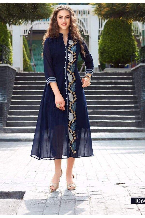 Festival  Wear Readymade Blue Goergette Kurti - Sparrow1060
