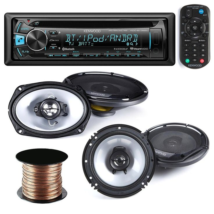 """Kenwood KDC-BT362U Car Stereo Radio CD MP3 Receiver with Bluetooth AM/FM Radio Player + (pair) 6x9 Speakers + (pair) 6.5 inch Speakers,50 Ft 18g Speaker Wire. Kenwood KFC-6965S 400 Watts 6"""" x 9"""" 3-Way Coaxial Car Audio Speakers(pair). Kenwood KFC-1665S 6.5"""" 600 Watt 2-Way Car Audio Coaxial Speakers (pair). Speaker Wire 18GA 50FT. Stereo: built-in MOSFET amplifier (22 watts RMS/50 peak x 4 channels), plays CDs, CD-Rs, and CD-RW discs including discs loaded with MP3, AAC, and WMA music…"""