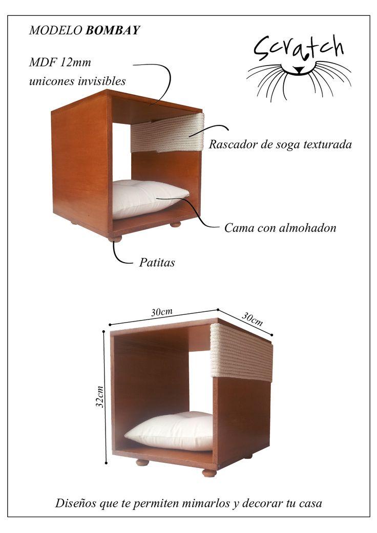 Muebles para gatos . Modelo BOMBAY- Muebles para gatos. Hermoso diseño de madera con rascador lateral y cama con almohadón. Muebles Scratch