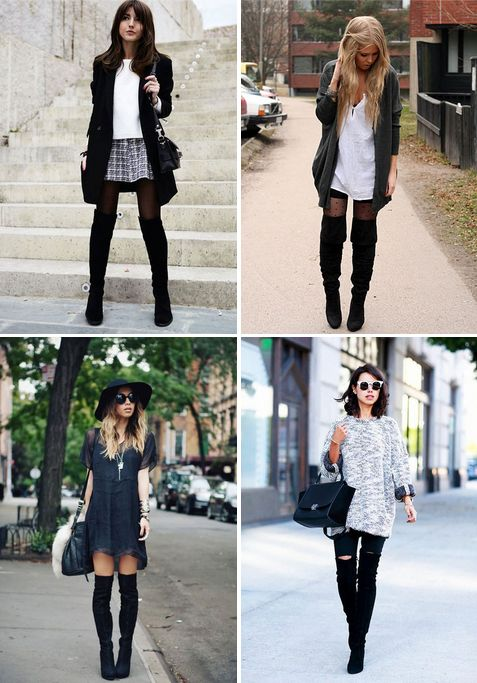 Lower right: Annabelle Fleur in black OTK boots, grey & white oversize sweater, & white-rimmed eyeshades w/ shoulderlength dark hair & pink lips