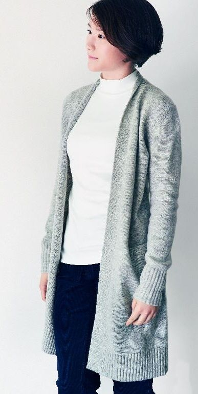 Wear this warm draped cardigan as an autumn jacket or under your coat in winter. Knit with fine Merino wool. | MUJI Merino Wool Long Cardigan