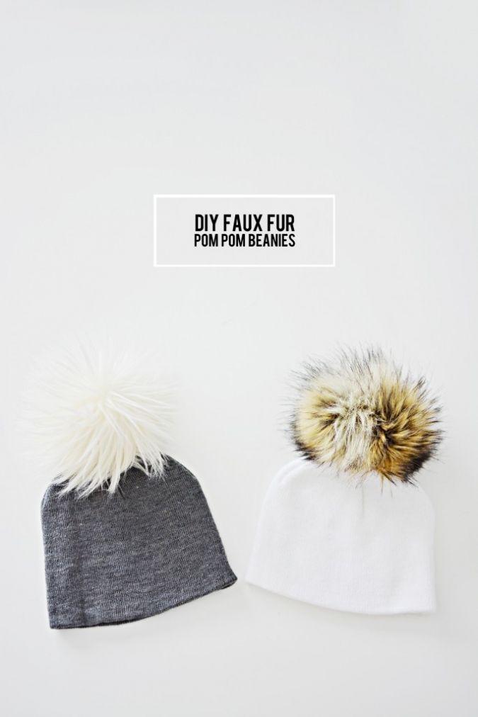 DIY FAUX FUR POM POM BEANIES