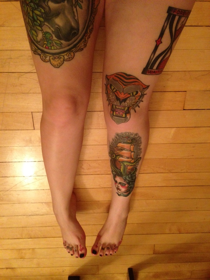 I've had the pleasure to have my legs and toes tattoos by two talented artists.    discoverelle on instagram  Shin, Knee and unicorn on thigh were all done by Michael Brito (Currently traveling artist) Instagram: britotattoo  Hourglass on thigh done by Don Ritson; Rebel Waltz Winnipeg. Instagram: donritson
