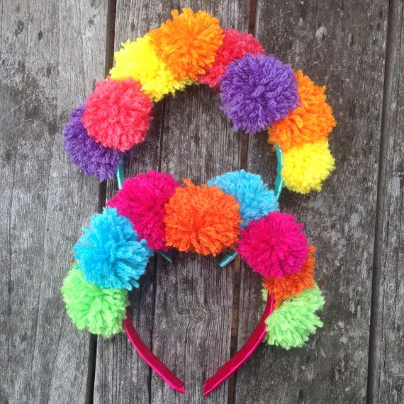 Bright Pom Pom Headbands by GroovieGhoulie2k14 on Etsy