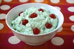 I grew up on this stuff!  Loved it.  Green Jello Salad ..Lime Jello, Cottage Cheese, Cool Whip, Pineapple, and Nuts!  Yum!
