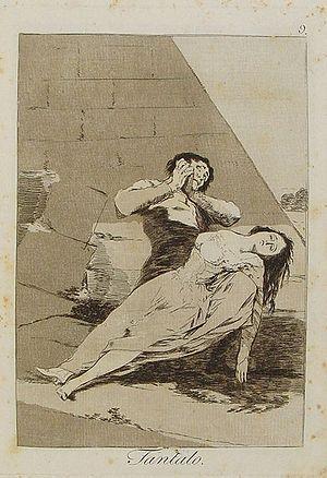 9. Tántalo. Una buena hembra al lado de un viejo no la satisface, tiene delirios, y es como el que tiene sed, está junto al agua y no puede gustarla. Goya