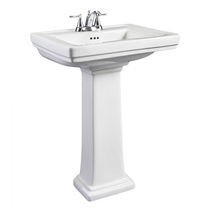 Add Clean, Refined Style To Your Bathroom Decor With This Charming Pedestal  Sink. With A Small Exterior Construction, This White Sink Features A  Spacious ...
