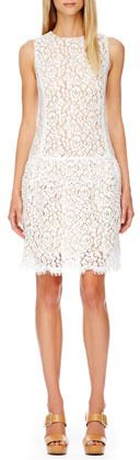 $1,995, White Lace Party Dress: Michael Kors Michl Kors Drop Waist Lace Dress. Sold by Neiman Marcus. Click for more info: https://lookastic.com/women/shop_items/35530/redirect