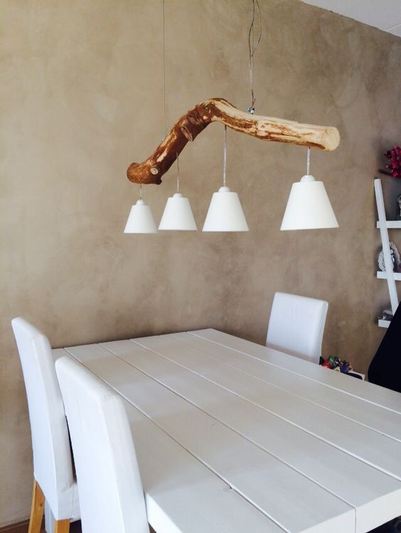 Selfmade lamp, made of wood, boomstam lamp