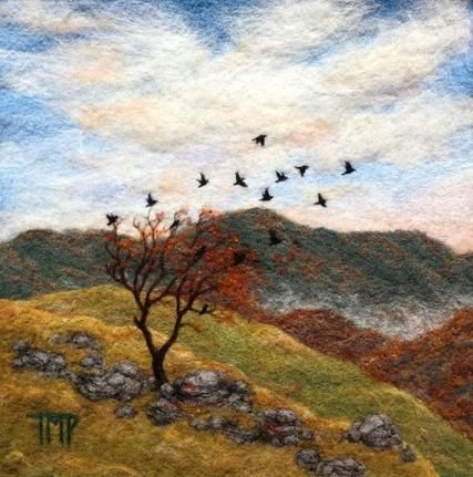 Fall is in the air with this charming felted landscape by artist Tracey McCracken Palmer. See her portfolio and interview at www.ArtsBusinessInstitute.org