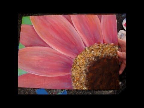 ▶ Gerbera Daisy Acrylic Painting Tutorial for Beginners (Part 1) - YouTube