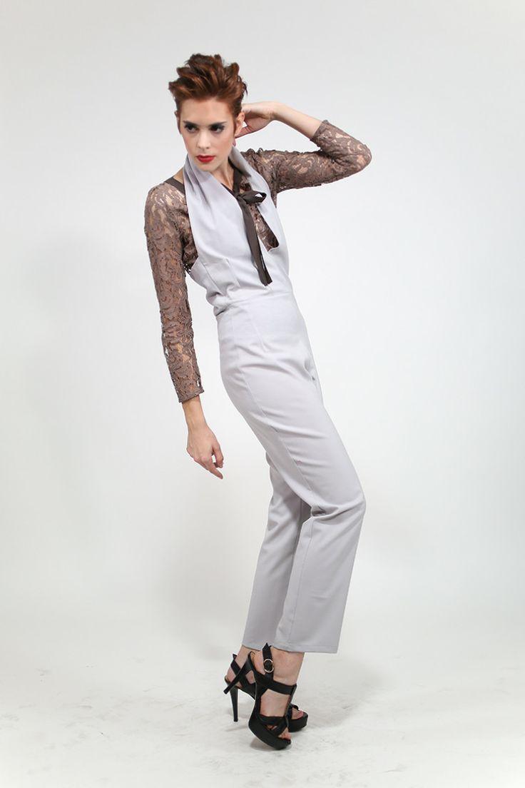 Elegant grey wool halter jumpsuit. Handmade in Italy.