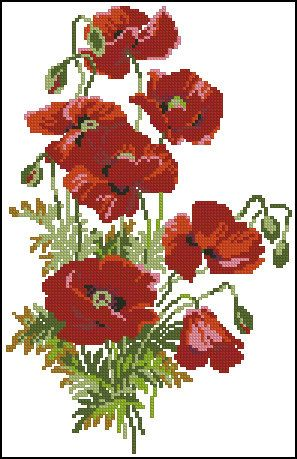 Instant Download Counted Cross Stitch Chart PDF Pattern N105ld - Poppies