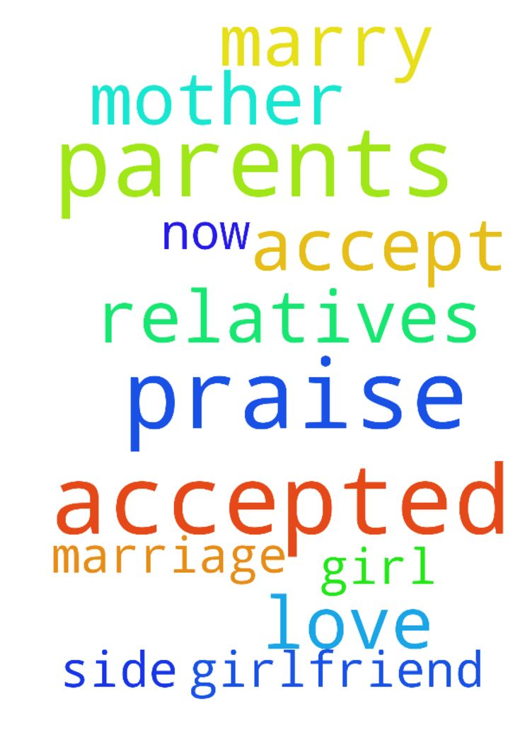 Praise the lord. Please pray that my parents have accepted - Praise the lord. Please pray that my parents have accepted to marry the girl I love. Now my girlfriend mother and relatives has to accept from their side for our marriage please pray. Posted at: https://prayerrequest.com/t/Kgx #pray #prayer #request #prayerrequest