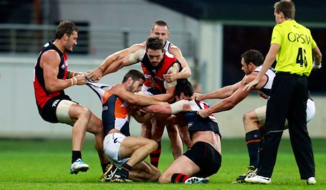 Round 12 2014 AFL, Essendon vs GWS Giants. Tension heats up and the fighting did start.