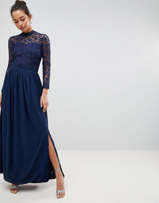 0c6614b68f Club L High Neck Crochet Lace Maxi Dress With Long Sleeves in 2019 ...