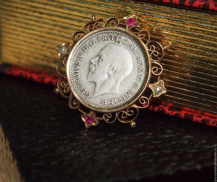Старинная брошь «Король Георг V» Европа Начало ХХ века.