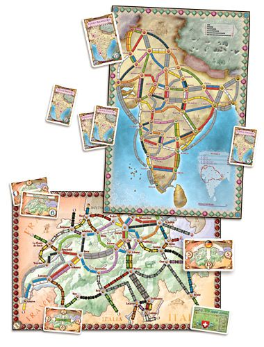 Ticket to Ride | Days of Wonder INDIA game expansion pack. Includes maps of India and Switzerland along with their destination tickets and rules.