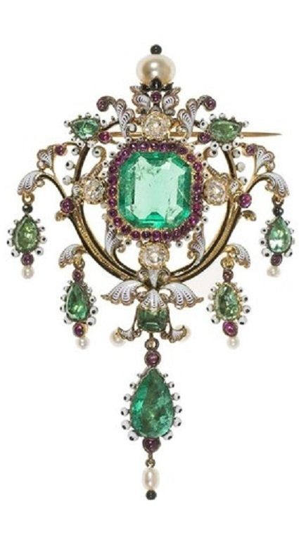 Lucien Falize - A Renaissance Revival gold, enamel, ruby, emerald and pearl brooch, circa 1870. #RenaissanceRevival #antique #brooch