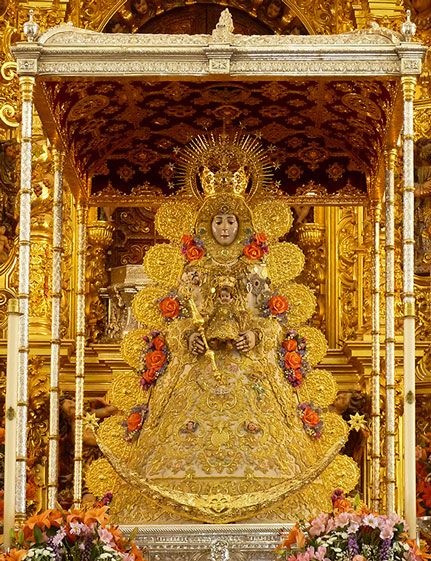 Rocio's Virgin is venerated at the shrine of El Rocio (Almonte, Huelva). The festivities in his honor is one of the most important in Spain and each year attracts more than one million people.
